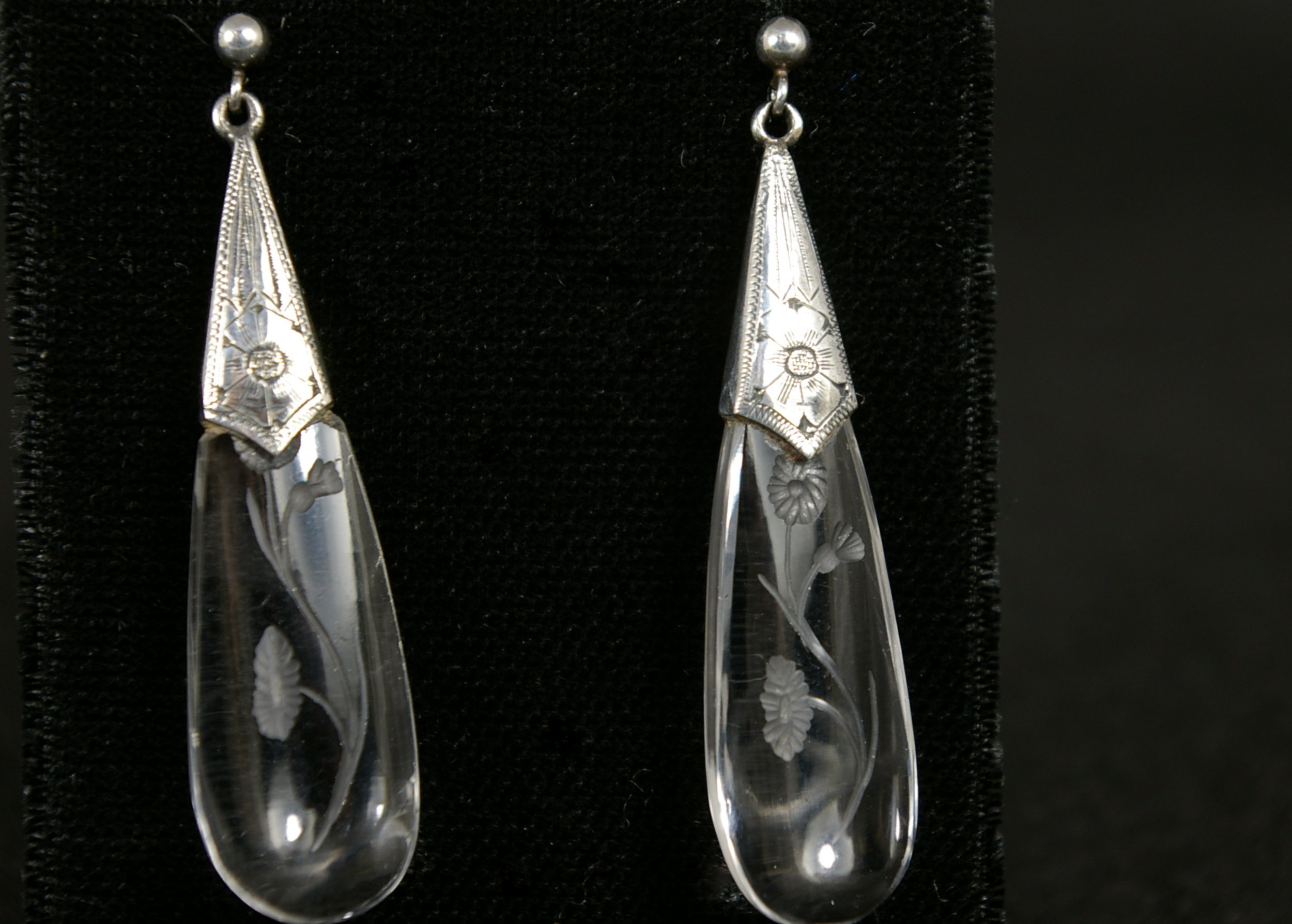 Victorian carved Quartz crystal earrings