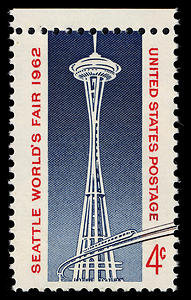 Stamp commemorating the worlds fair and space needle