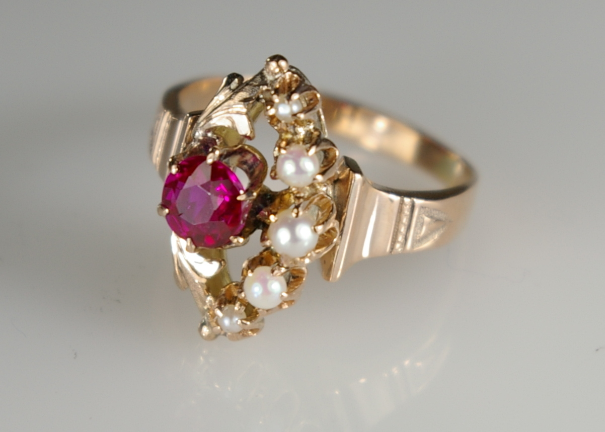 Fire Damaged Jewelry Restoration at Crane Jewelers Ltd.  Victorian Ruby Ring side view burnt ring after.JPG