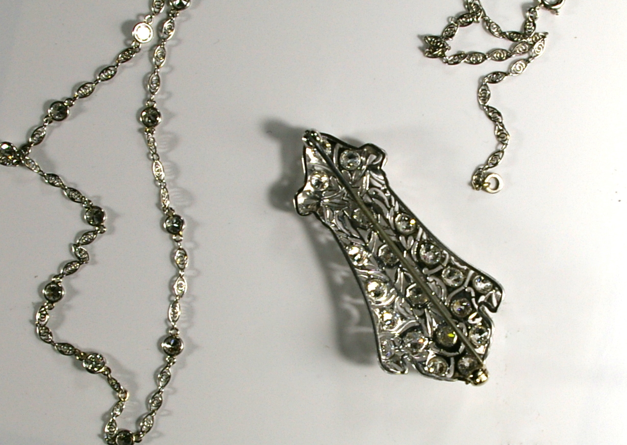 The restoration of an Edwardian Platinum Necklace at Crane jewelers back.JPG