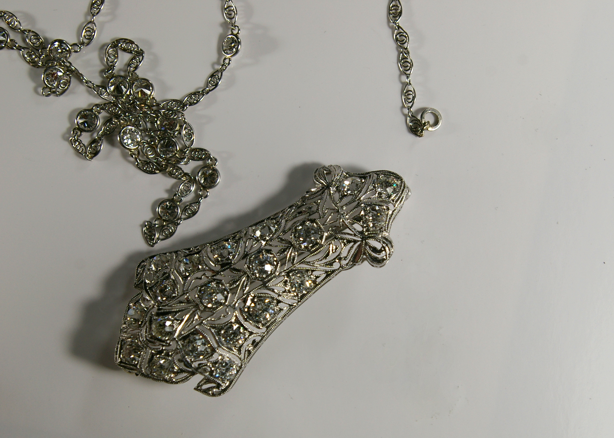 The restoration of an Edwardian Platinum Necklace at Crane jewelers front.JPG