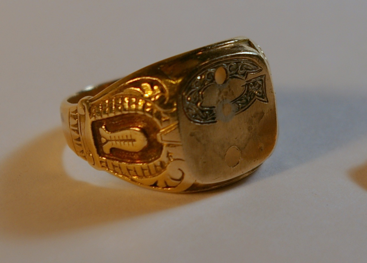 Masonic master ring before restoration