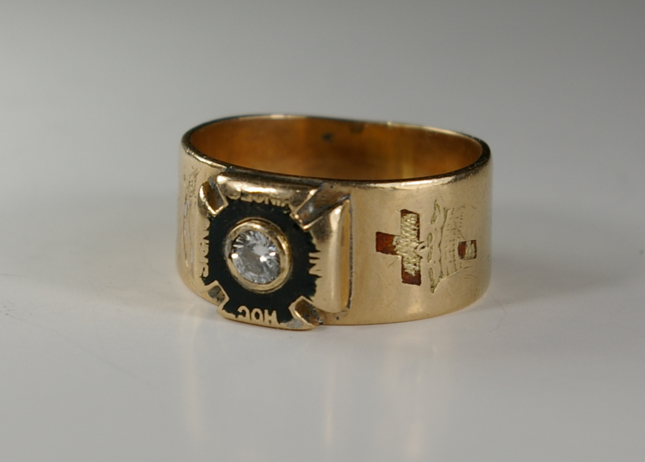 Masonic master ring Knights Templar before restoration