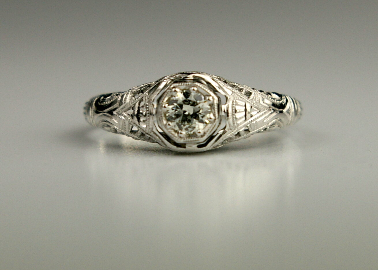 Antique Jewelry Restoration an Edwardian engagement ring after restoration at Crane Jewelers in Seattle