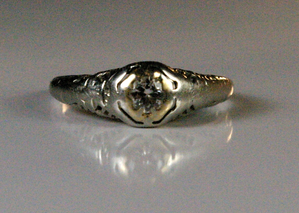 Antique Jewelry Restoration Edwardian engagement ring before restoration at Crane Jewelers in Seattle