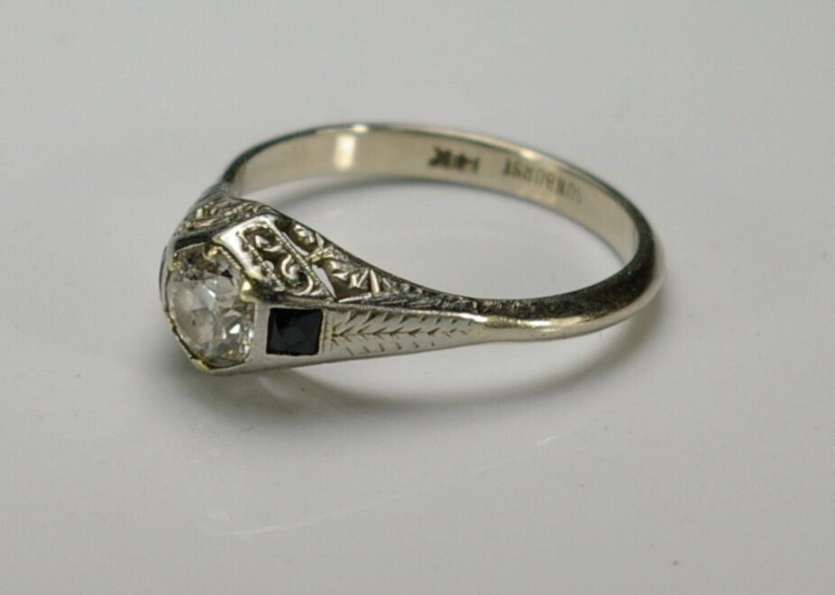 A 1913 Platinum Engagement Ring before restoration