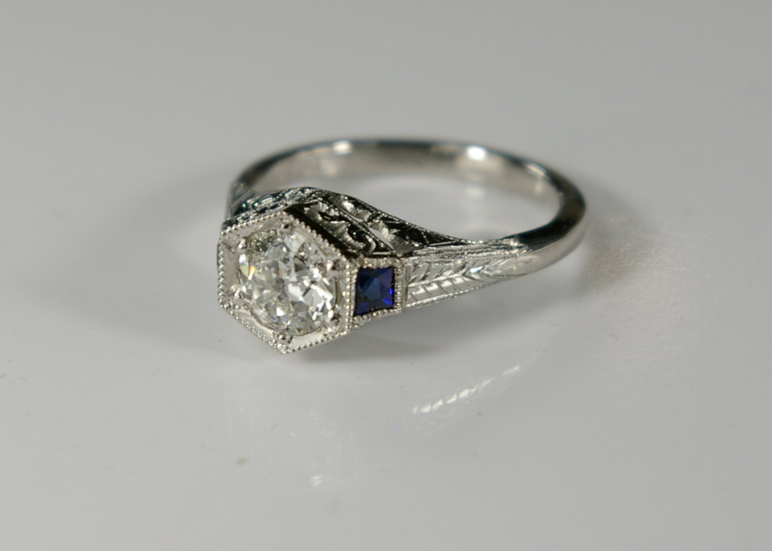 A 1913 Platinum Engagement ring after total Restoration.