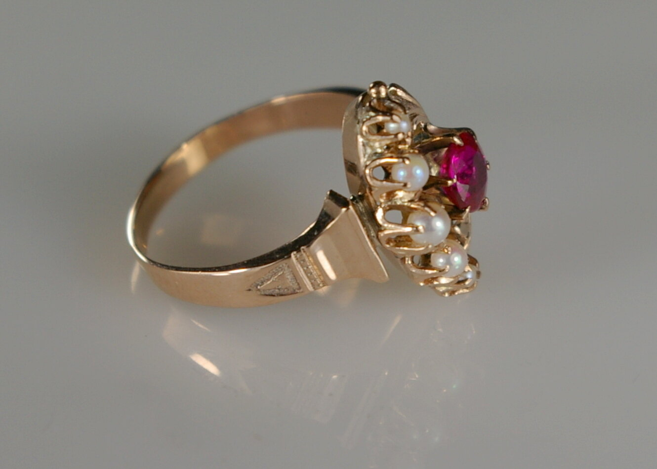 The same Fire Damaged Jewelry Restoration at Crane Jewelers Ltd. Victorian Ruby Ring after restoration.