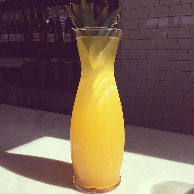 Our newest pitcher 🍍Pineapple-Turmeric Punch, choice of vodka or tequila w/pineapple, lemon, turmeric, honey #fiveleaves #losangeles #cocktails #turmeric #punch #vodka #tequila #bar #pineapple🍍