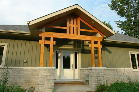 Timber Framed Porches - Timber frame porches are an excellent way to bring timber framing to the exterior elevations of you project. Timber frame porches are added to conventional and timber frame homes.| See More