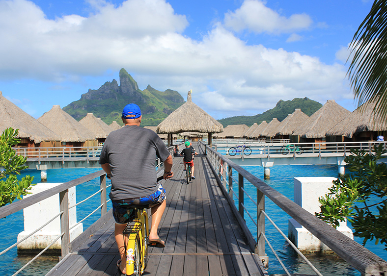 Riding bikes in Bora Bora