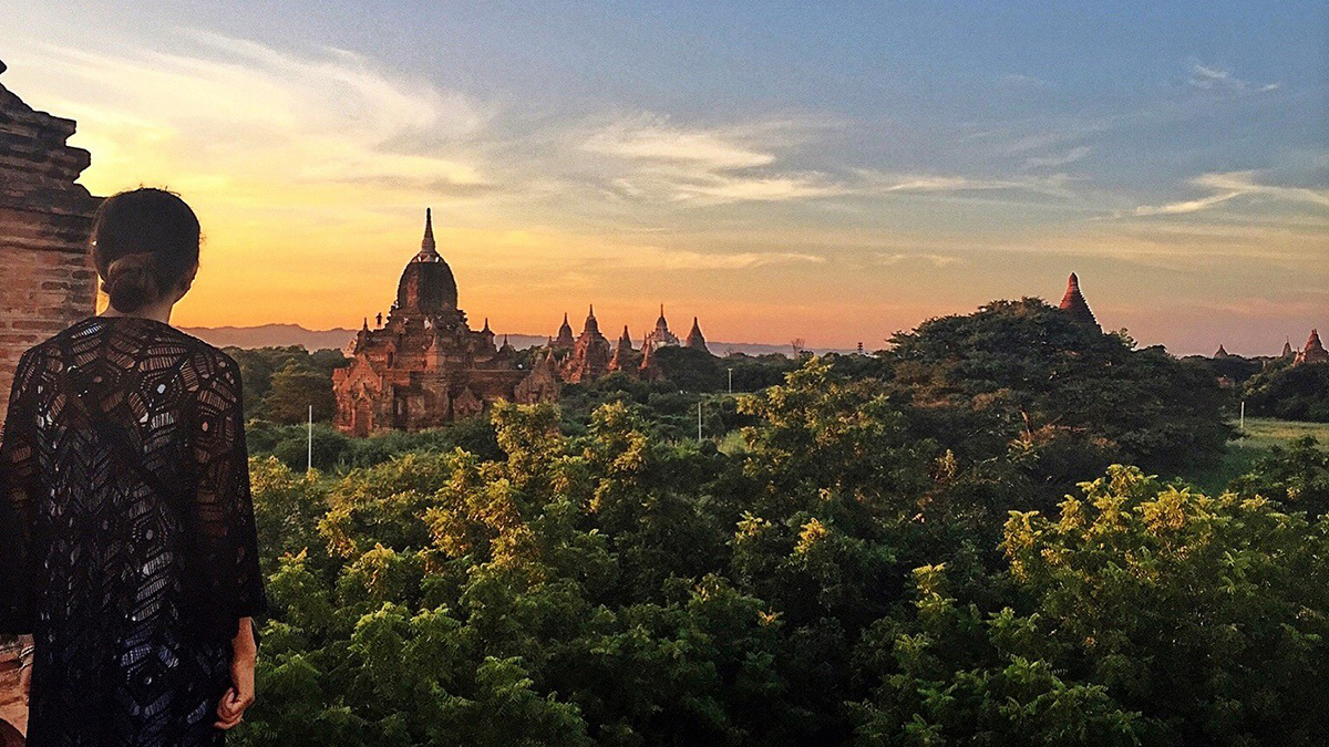 Watching the sunset over temples in Myanmar.
