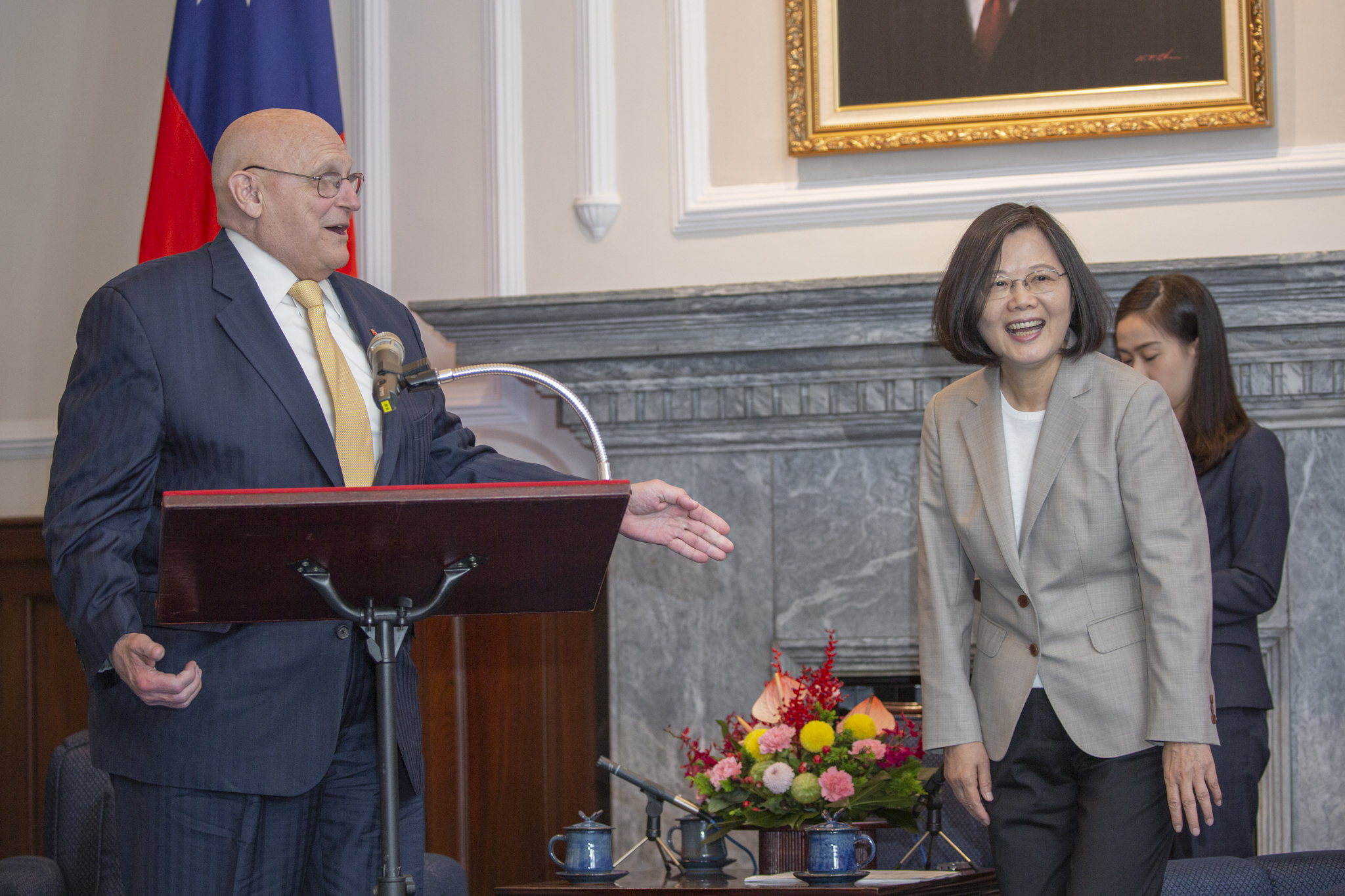 蔡英文接見阿米塔吉。圖片來源:Taiwan Presidential Office/Flickr