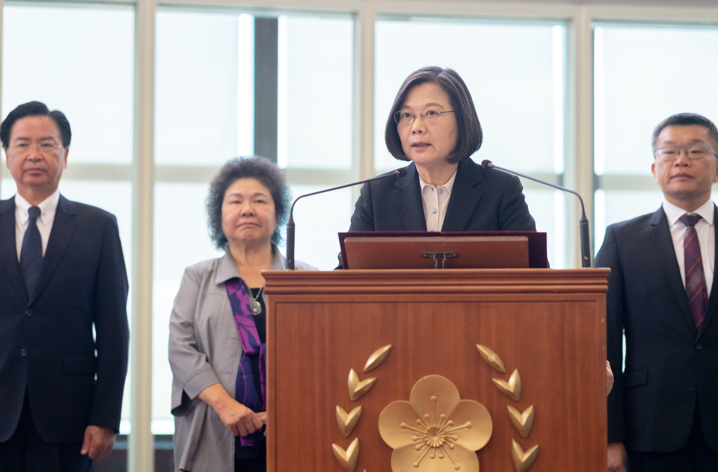 總統蔡英文上月22日發表「自由民主永續之旅」返國談話。圖片來源:Taiwan Presidential Office/Flickr