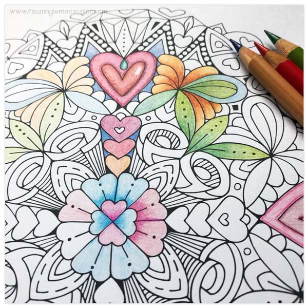 HEARTS MANDALA COLOURING PAGE
