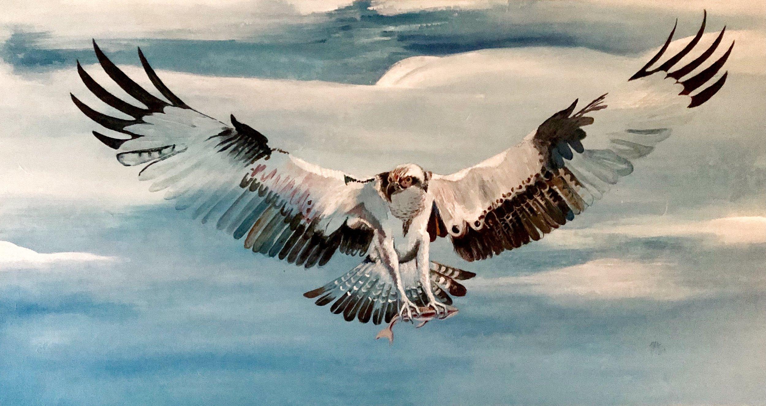 Målning av Ina M Andersson.  Fågeln Fiskgjuse har gett namn åt Osprey Sweden Farm & Studio AB