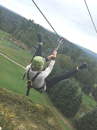 Soaring down a zip line at Nemacolin in the gorgeous Laurel Highlands of Pennsylvania — woo hoo!