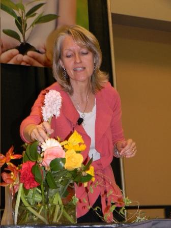 I choose flowers carefully for my demonstration at the Philadelphia Flower Show.