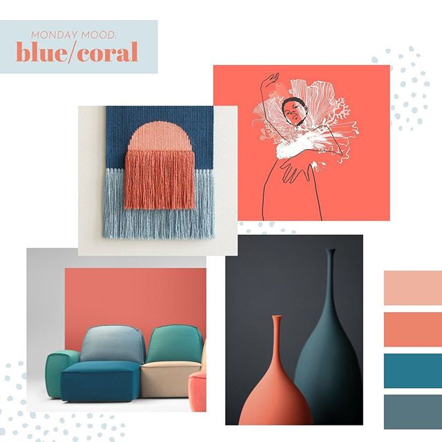 A pop of colour to start the week, it is grey, dull and a little miserable here so dreaming back to bright and sunny summer days. Amazing porcelain by @sophie_cook_porcelain wonderful weaving by @wednesdayweaving amazing modular sofa designed by @pastinaisgood and beautiful illustration by @wadimpetunin inspired by last year's  @pantone colour of the year #livingcoral  #mondaymoodboard #mondaymoodboard #coralcolor #coral #blue #popofcolor #moderndesign #bold