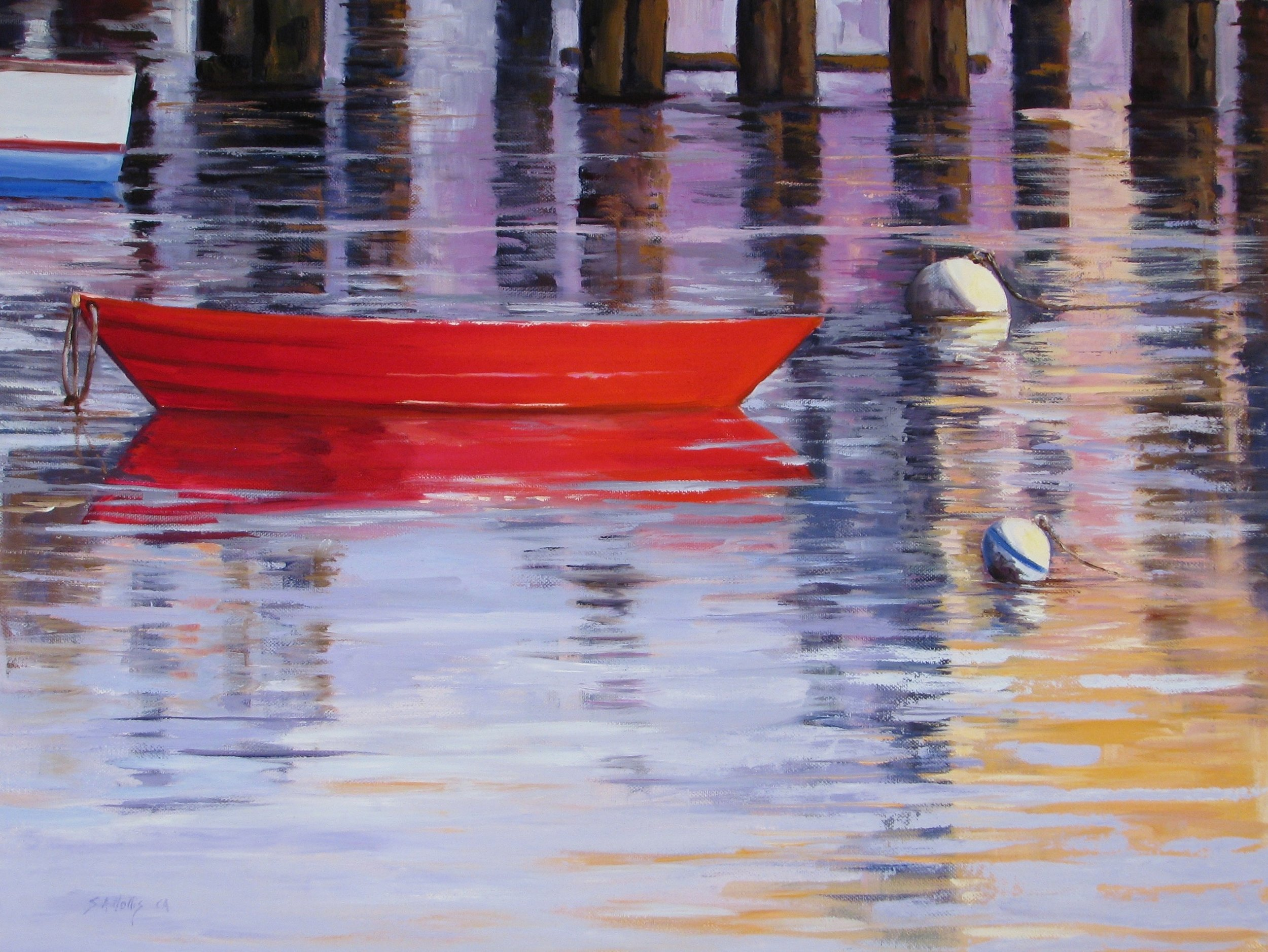 """Red Boat and Bouy – 18"""" x 24"""""""