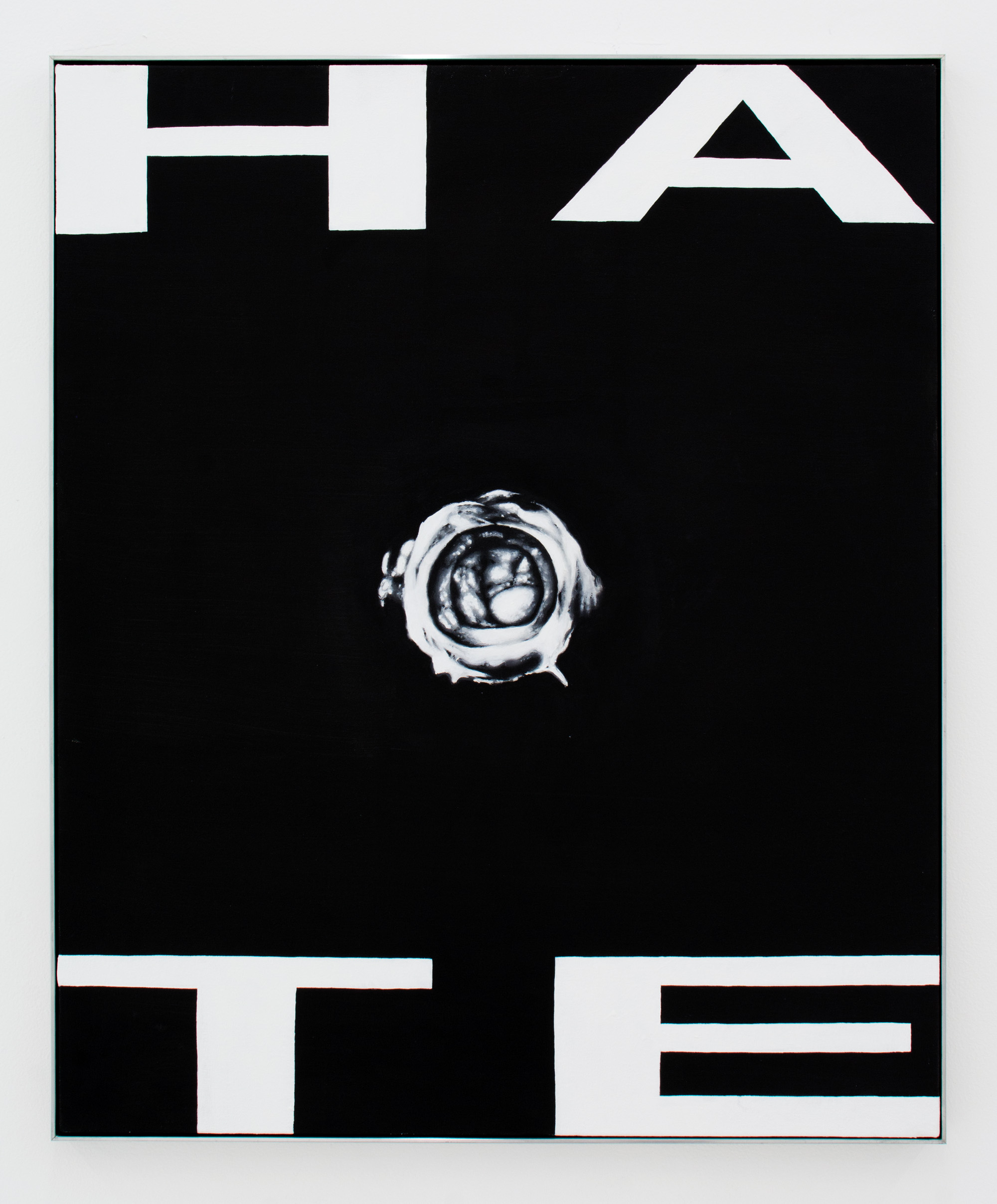 Hate (Trinity 1),  2016, Oil on canvas in aluminum frame