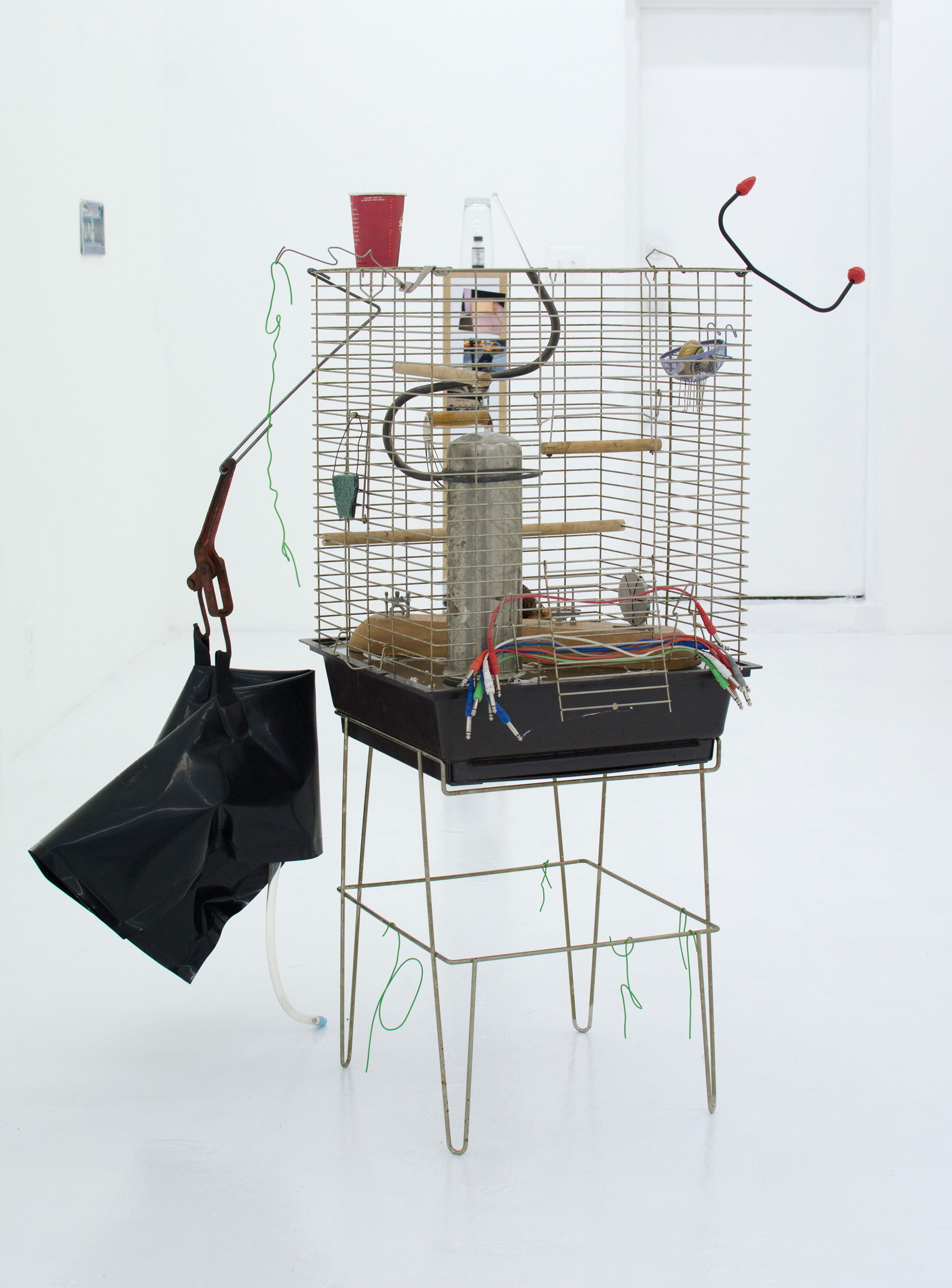 GEORGIA DICKIE    Today was a rare day (Many Minutes of Fun) , 2016, Metal bird cage, glass, wood perches and swing, blood, auxiliary cables, found photographs, discarded canary feathers, doorknob, glass stirring rod, resurrection plant, coffee cup, PVC coated wire, various found objects