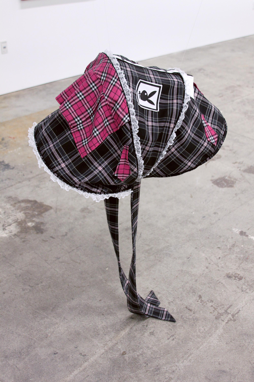 FLANNERY SILVA    Gripper Bon (Schoolgirl) , 2016, JJ Cole Broadway Stroller Canopy, Playboy Schoolgirl costume, fabric, accessories