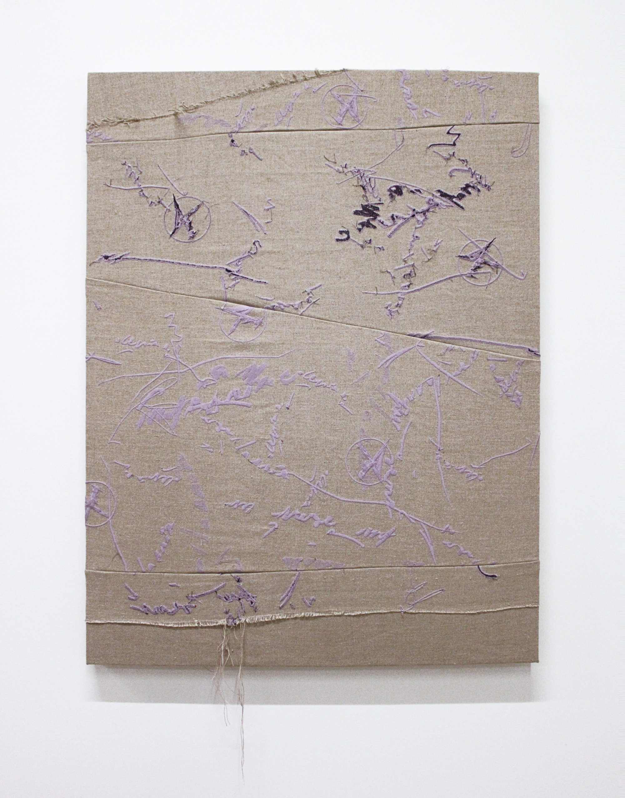 ERIKA CERUZZI   Jima split , 2016, Polyester and ceramic embroidery thread, linen