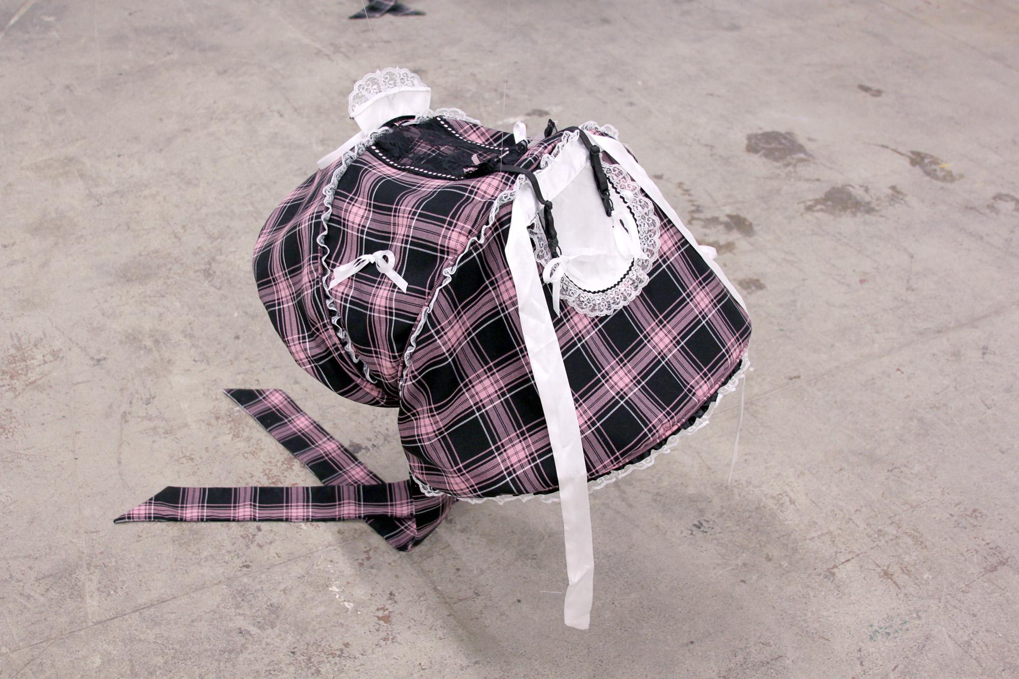 FLANNERY SILVA   Gripper Bon (Maid) , 2016, JJ Cole Broadway Stroller Canopy, Playboy Maid costume, fabric, accessories