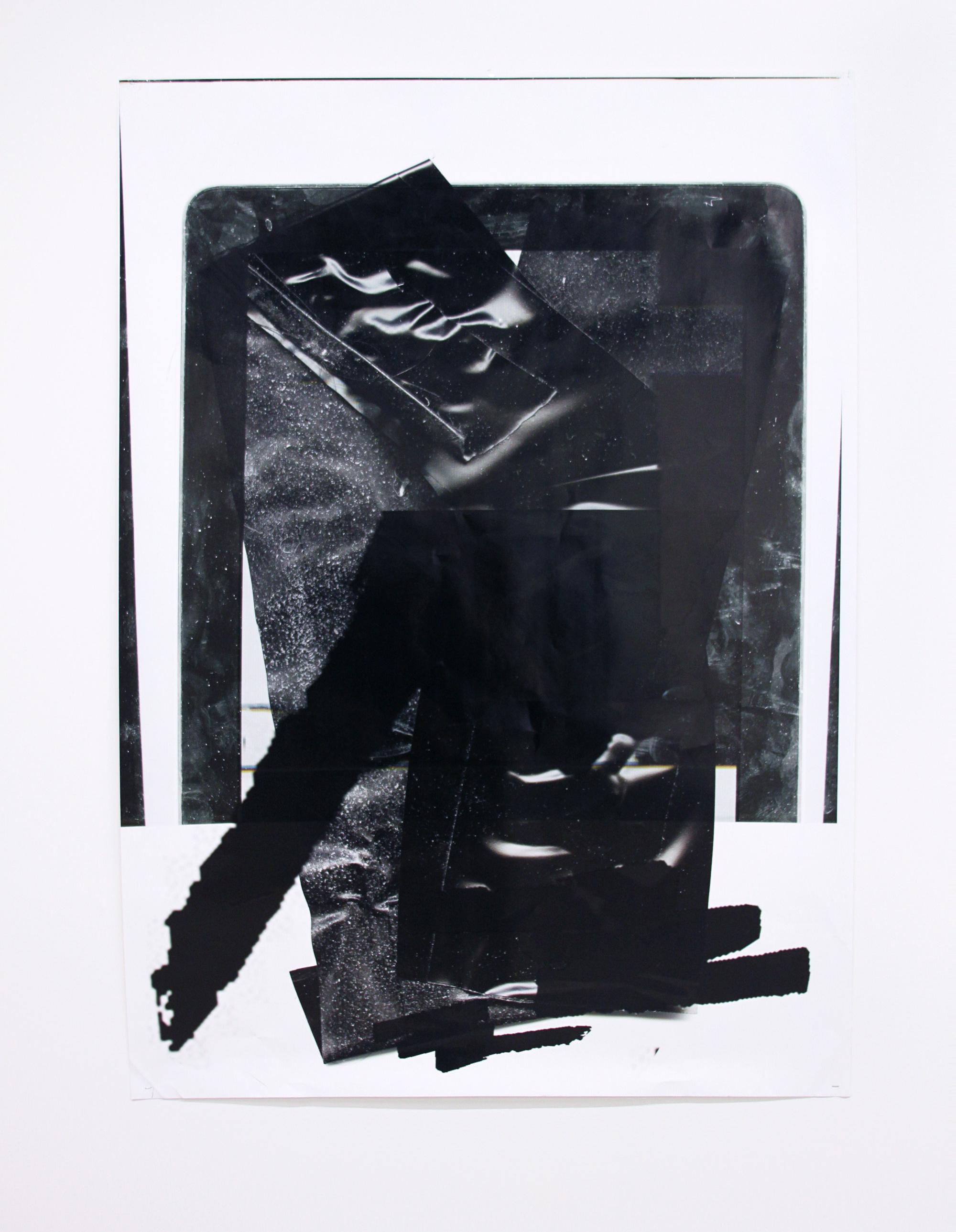ANDREA LONGACRE-WHITE   Tech body paint fetish , 2014, Archival inkjet print, used restrain tape, iPad, epson logo paint gesture, staples