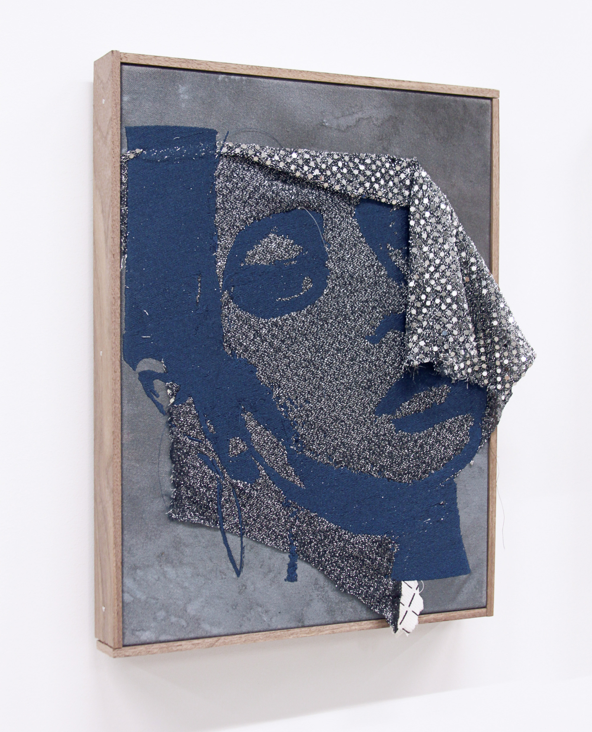BRENDAN FOWLER   Danielle , 2016, Embroidery on found fabric, acrylic, canvas, artist frame