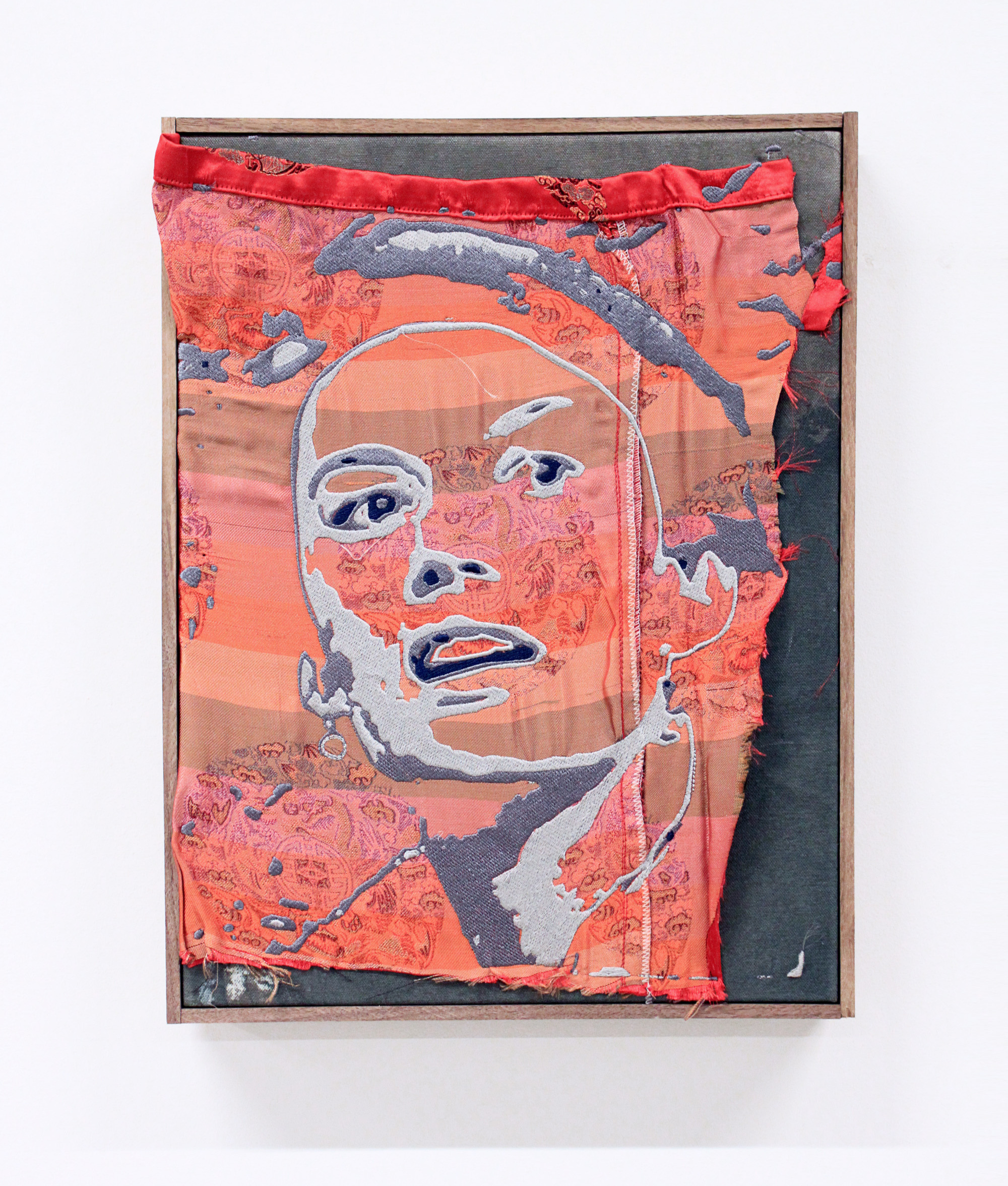 BRENDAN FOWLER  Andrea , 2016, Embroidery on found fabric, acrylic, canvas, artist frame