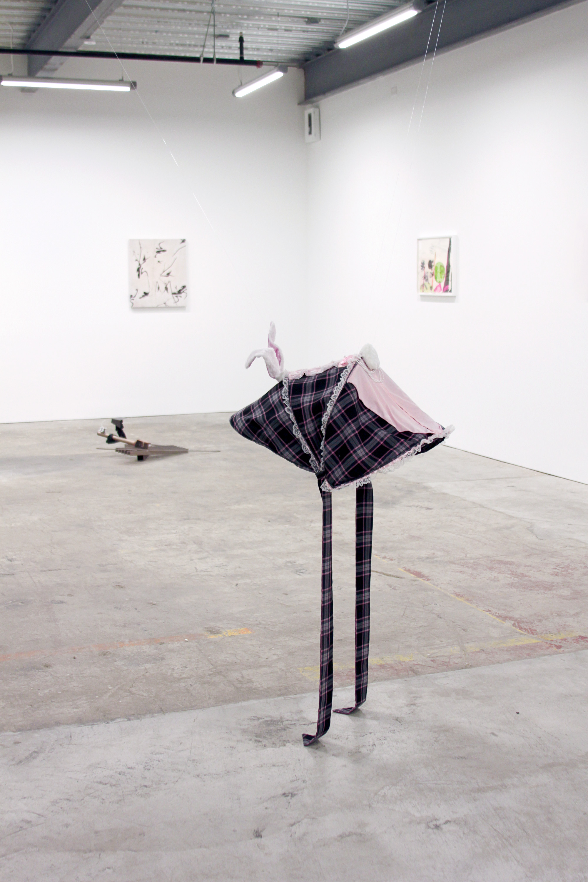 FLANNERY SILVA   Gripper Bon (Bunny Suit) , 2016, JJ Cole Broadway Stroller Canopy, Playboy Bunny Suit costume, fabric, accessories