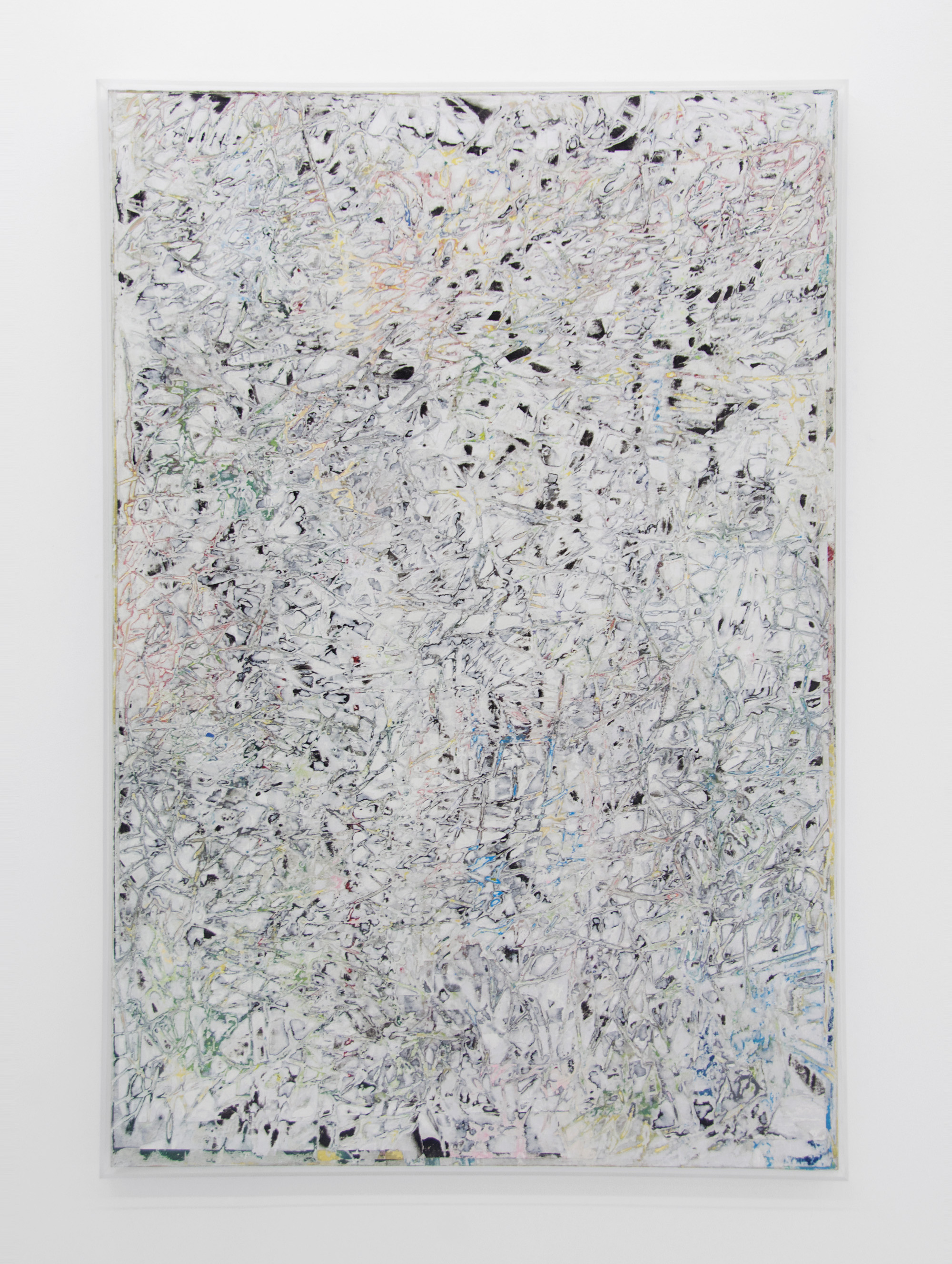 ANDREW LAUMANN   Untitled (Ambient Works II),  2015, Acrylic paint, methylcellulose, paper, on panel in acrylic frame