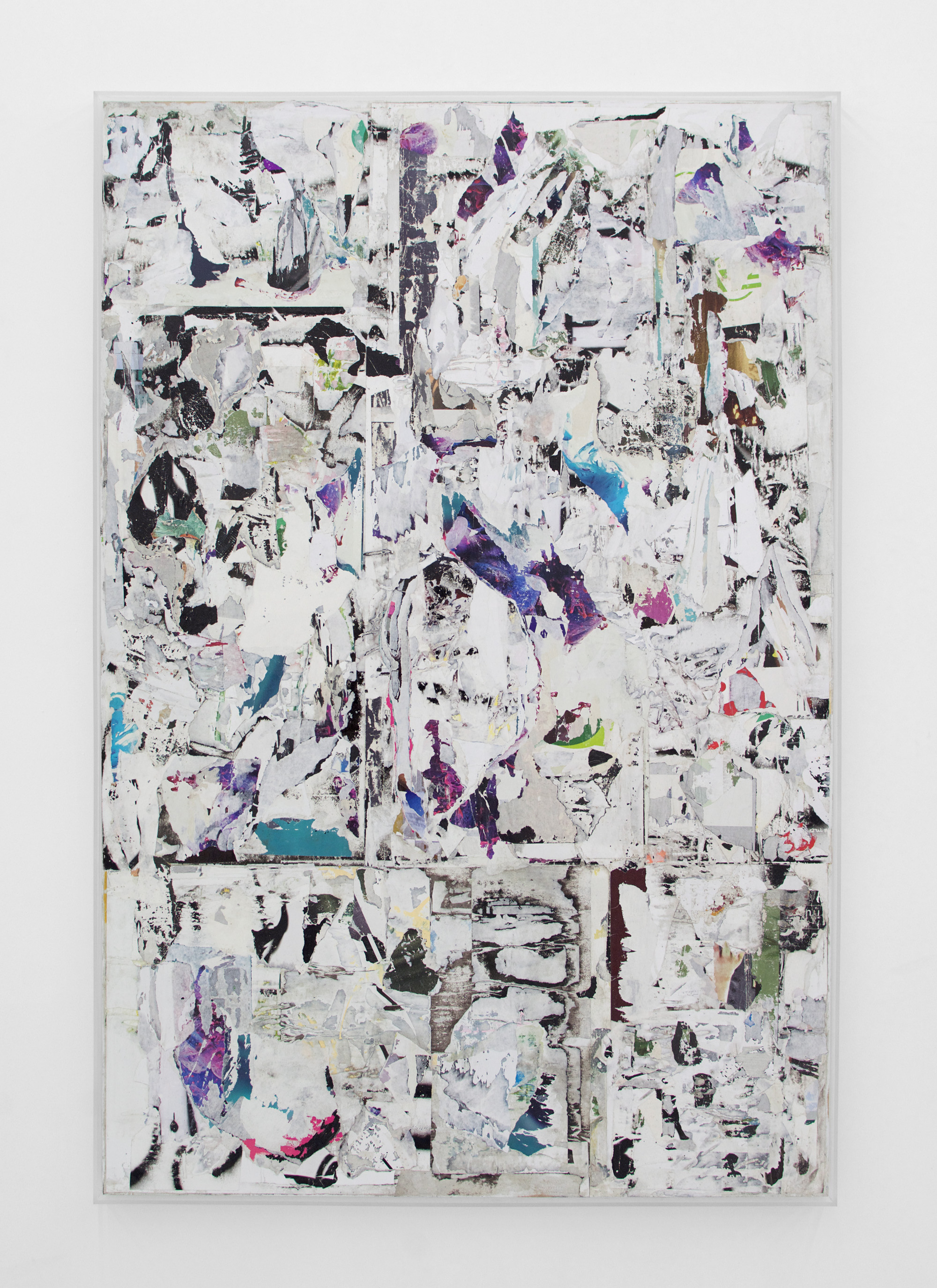 ANDREW LAUMANN   Untitled (Morpho),  2016, Acrylic paint, methylcellulose, paper, on panel in acrylic frame