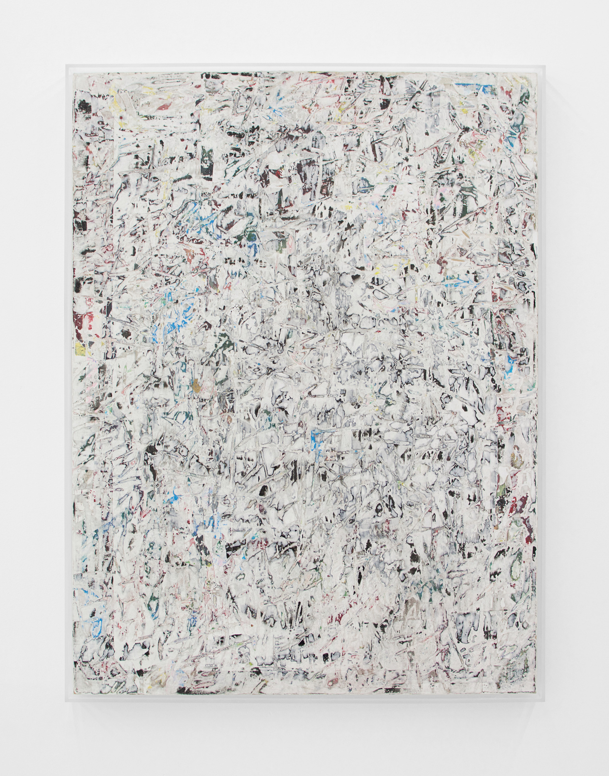 ANDREW LAUMANN   Untitled (Ambient Works),  2015, Acrylic paint, methylcellulose, paper, on panel in acrylic frame