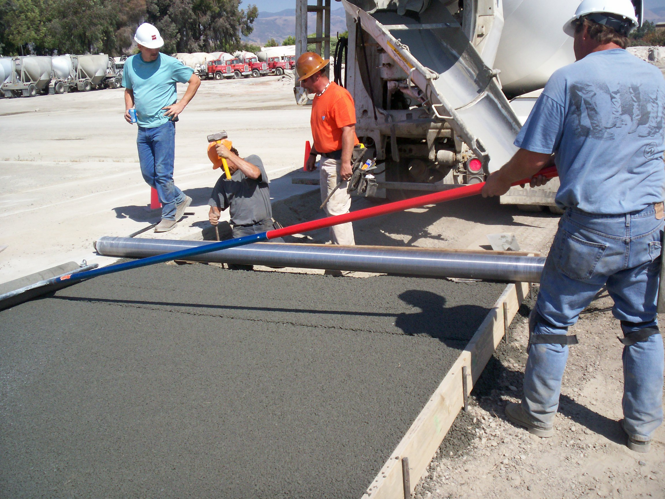 Roller Screed on Pervious Concrete