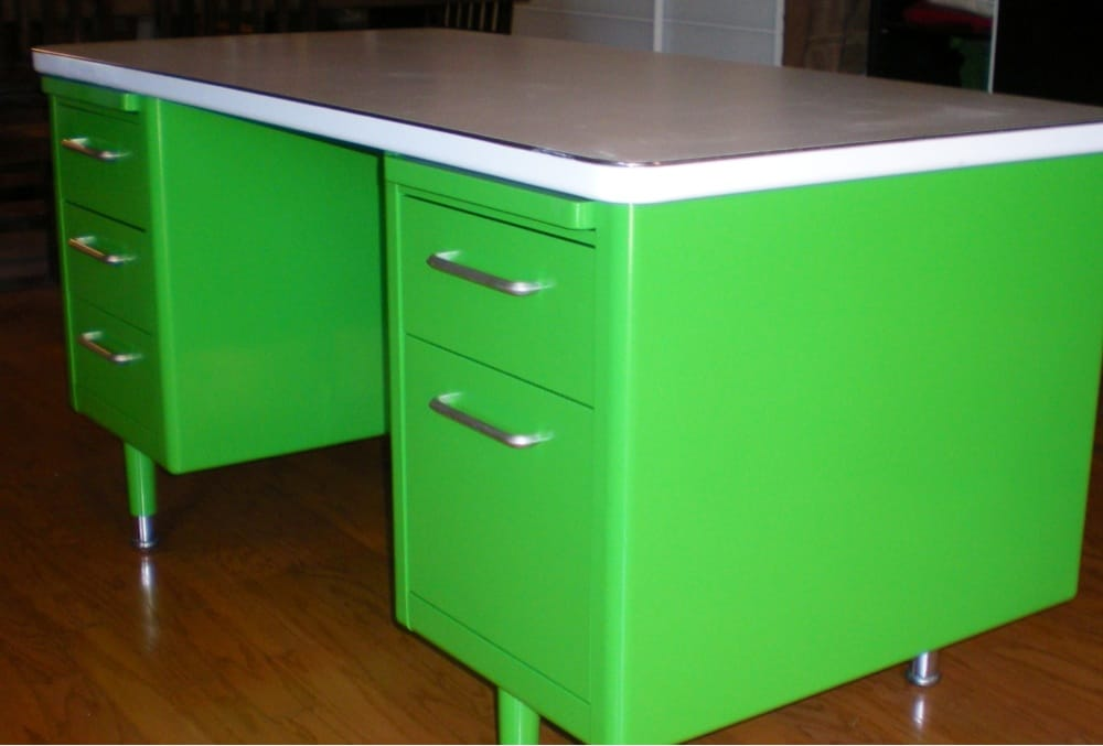 Metal Desk Green Powder Coated