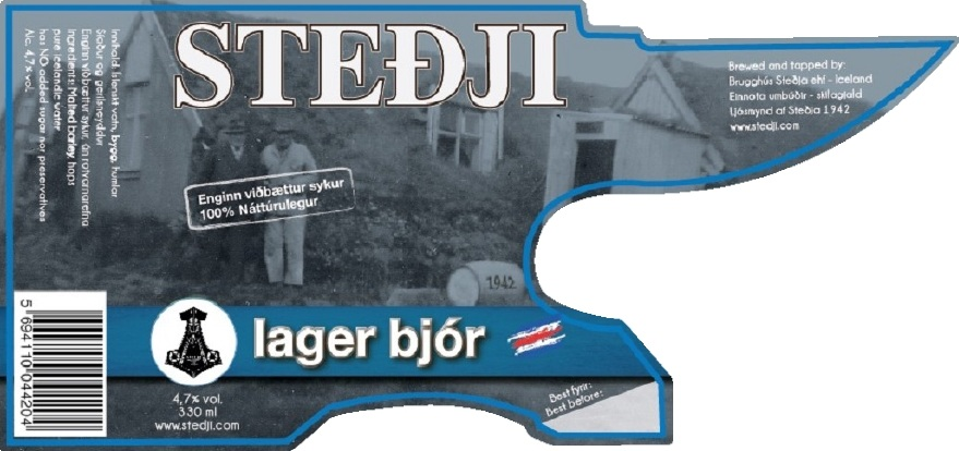 """Lager beer - Steðji lager beer is a german """"helles"""" brewed using traditional German method, based on the famous German Reinheitsgeboten. It has NO added sugar, fresh clear unpolluted Icelandic water. Its been called the beer with the German soul and the Icelandic heart. It has alc. 4.7% and on our labels we gave it the"""