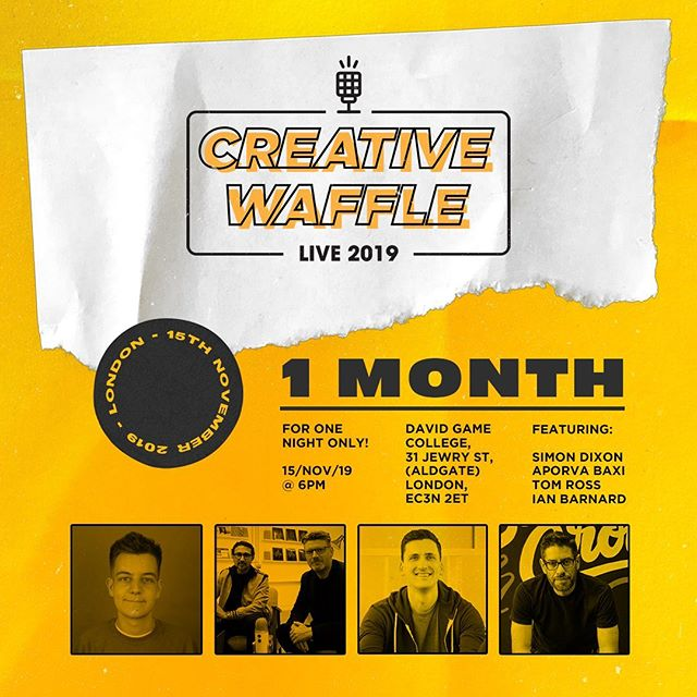 Just under 1 month to go now. - Come and see talks from @dixonbaxi @tomrossmedia and @ianbarnard with special guest doodlers. Can't wait for this action packed evening. - The Creative Waffle Live speakers night in London. November the 15th. Tickets available now via Eventbrite. Live link in my bio. - #markthewaffle #creativewaffle #deepdesignthinking #branding #creative #support #podcast #podcasttour #graphicdesign #designer #graphicdesignlife #design #designevent #eventbrite #graphicdesigntalk #designtalk #londondesign #londondesignfestival