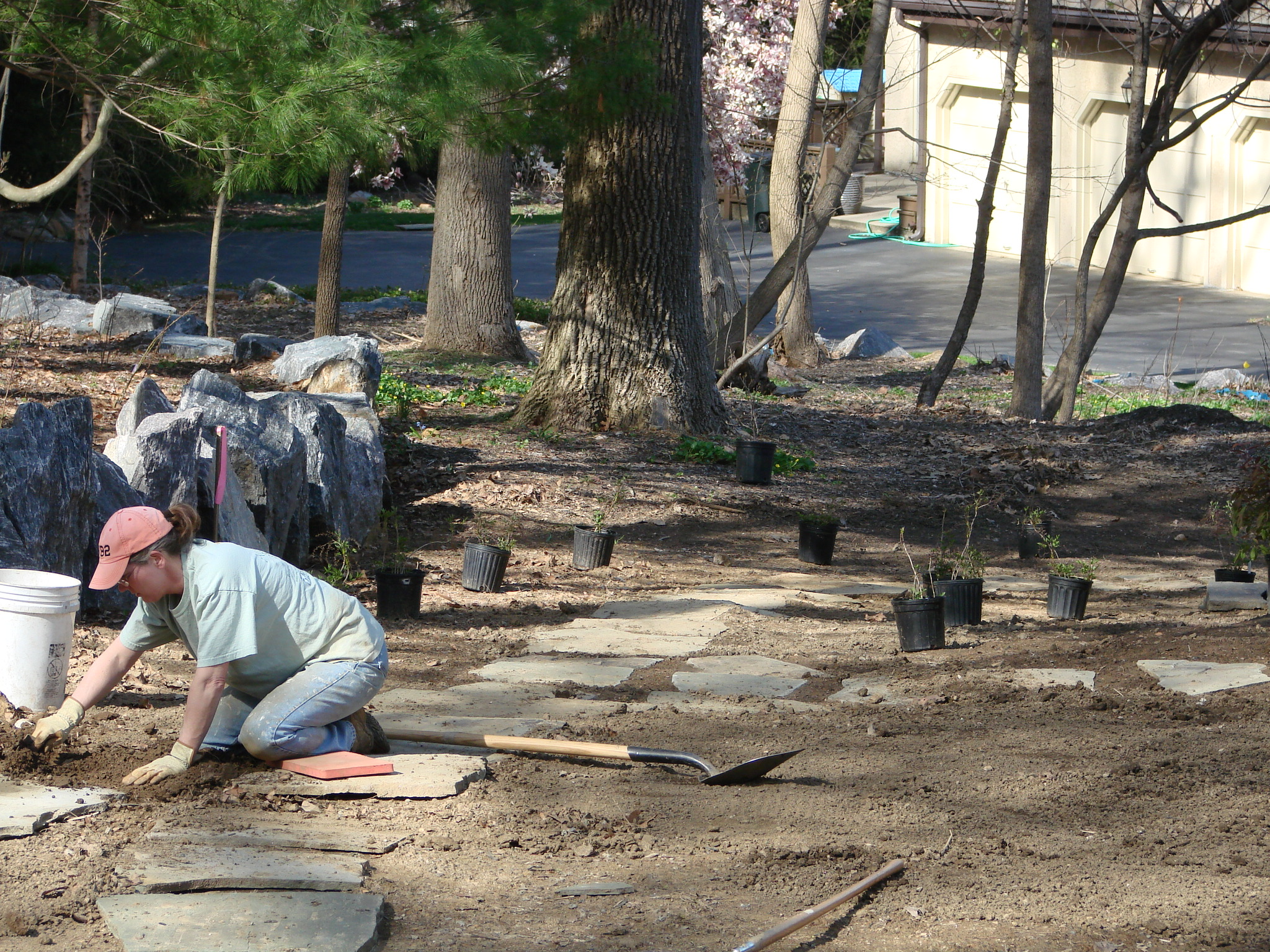 villanova Backyard during - yep, that's me and lots of slate and plants to be installed