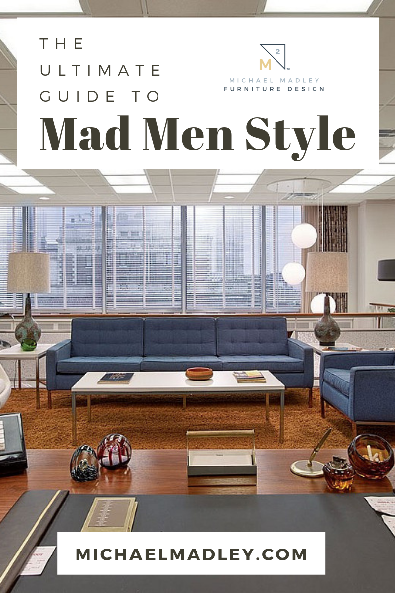 In love with Mad Men Design and style? Welcome to Don Draper's office. Old-school sophistication with contemporary features to create the perfect minimalist design. A tenant of mid-century modern furniture design - form follows function. #madmendesign #madmen #table #dondraper #simple #simpledesign