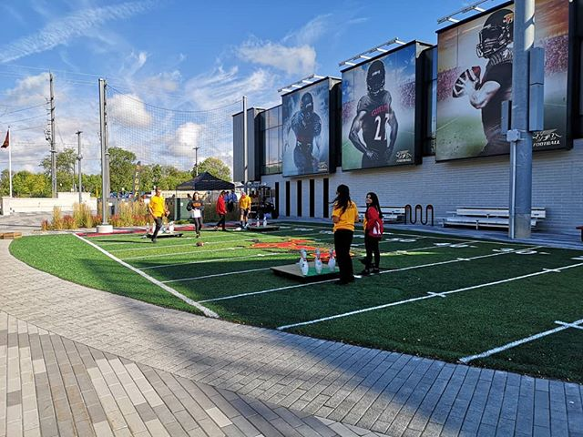 Hey, @gryphonfootball thanks for building a turf field SPEFICIALLY for football bowling! We like your style 🏈🎳