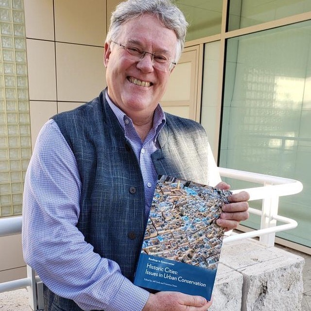 "Jeff Cody ('85) has a new book!  Here he is with his author proof of ""Historic Cities: Issues in Urban Conservation"" at The Getty Center. Congratulations, Jeff!"