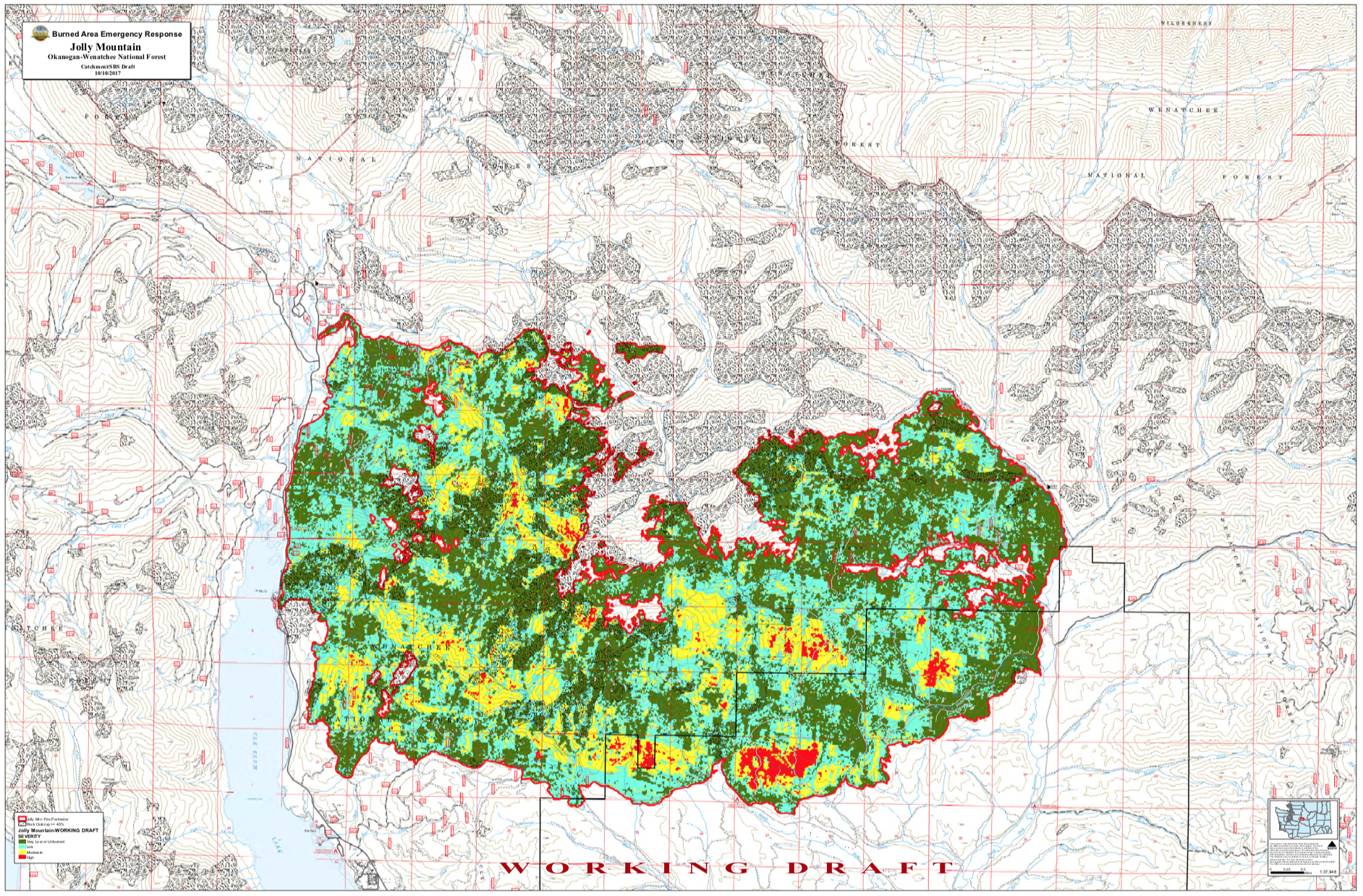 Jolly Mountain, soil burn severity map.