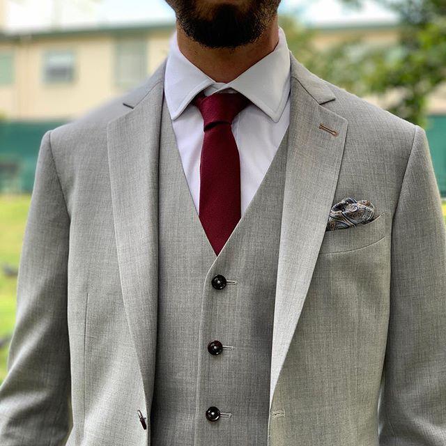 Super130s Wool Light Grey Suit