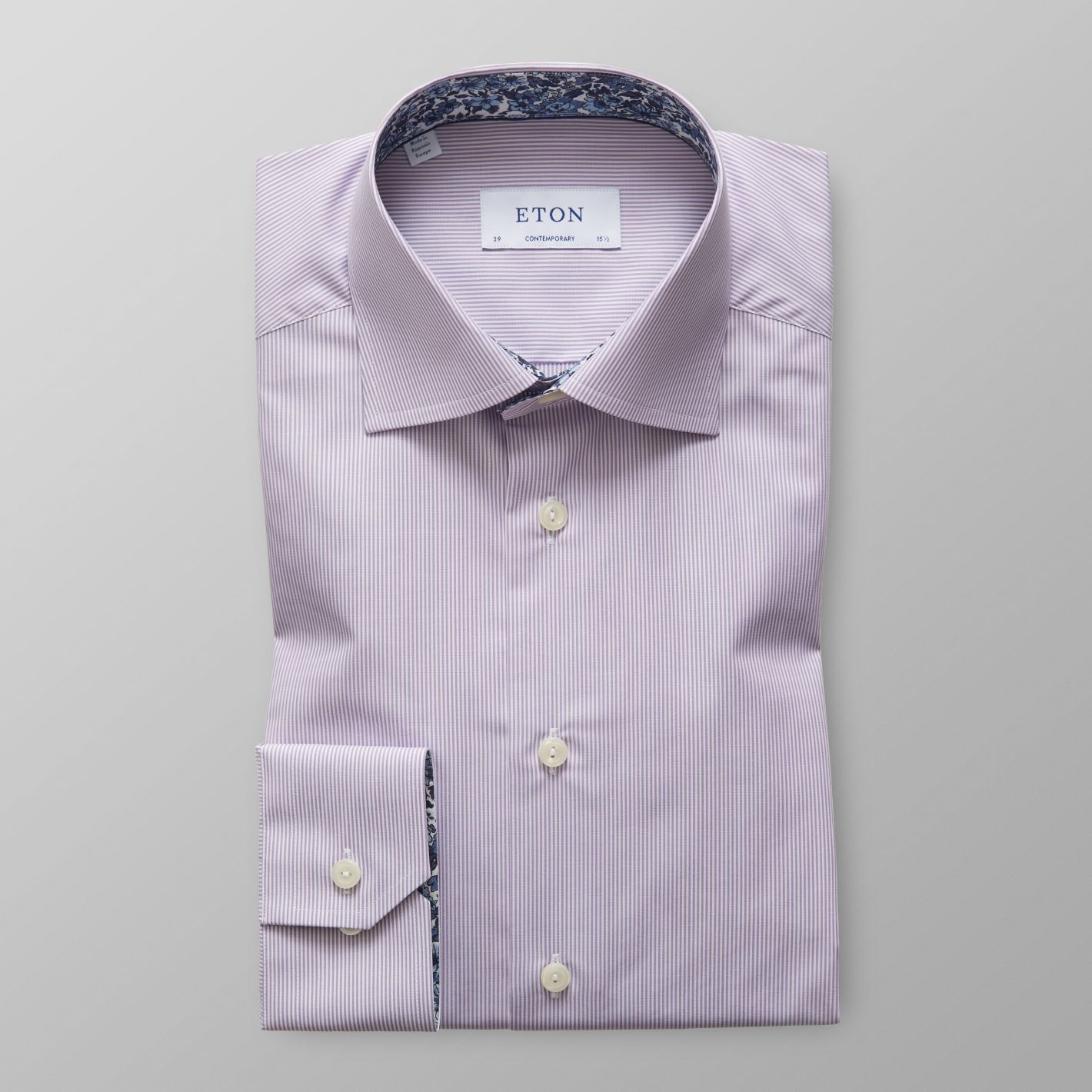 Purple Striped Poplin Shirt - Floral Details