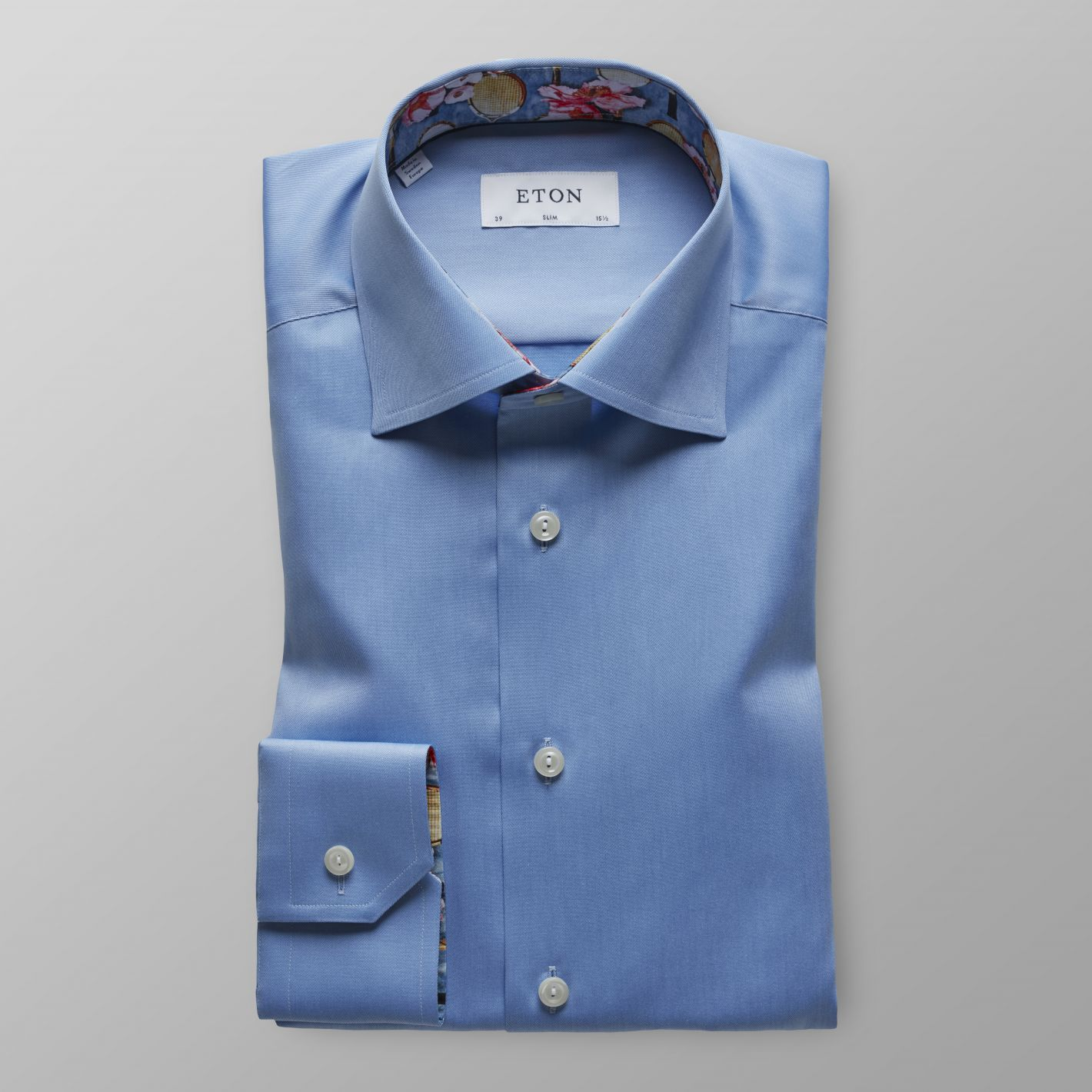 Sky Blue Twill Shirt - Tennis Print Details