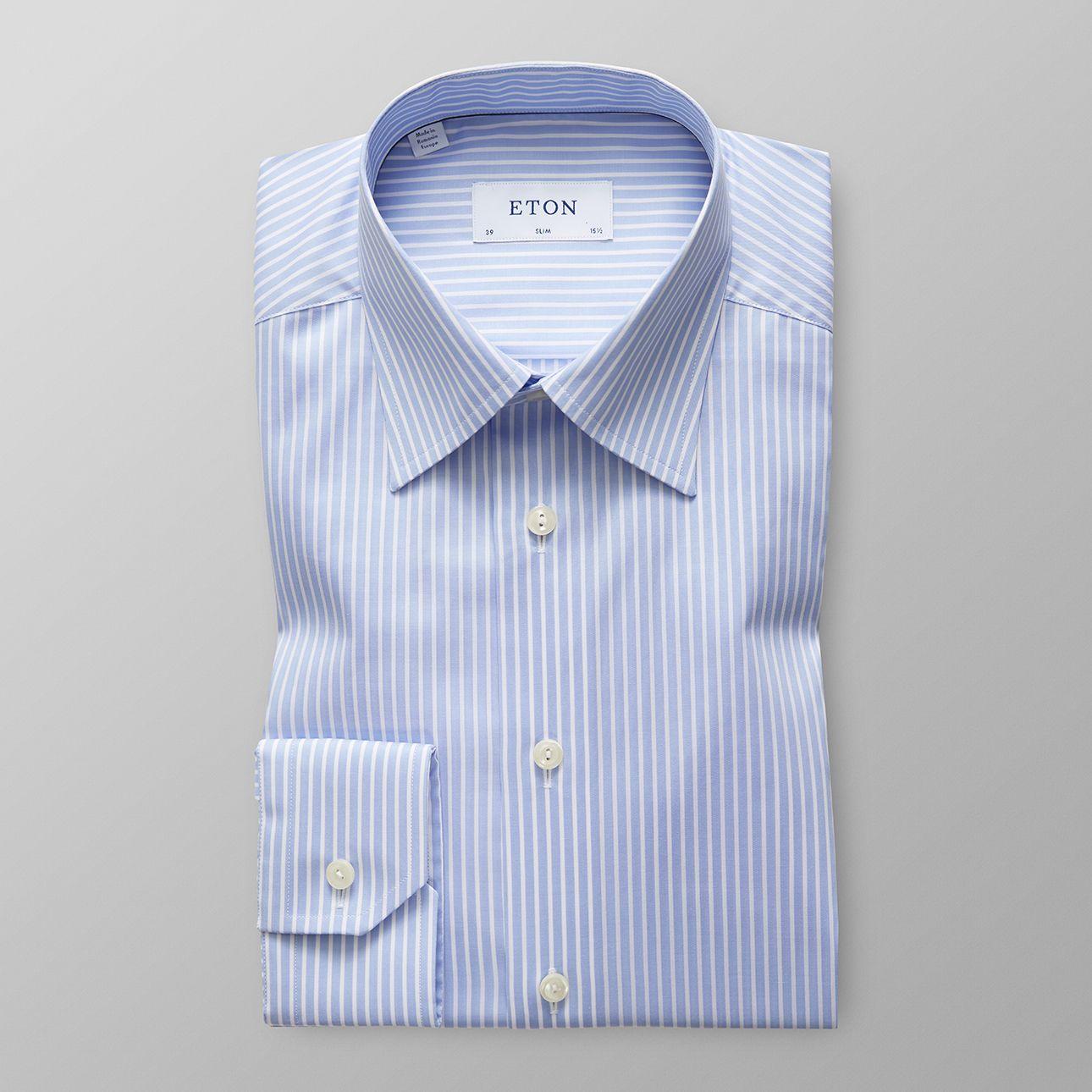 Sky Blue Striped Natural Stretch Shirt