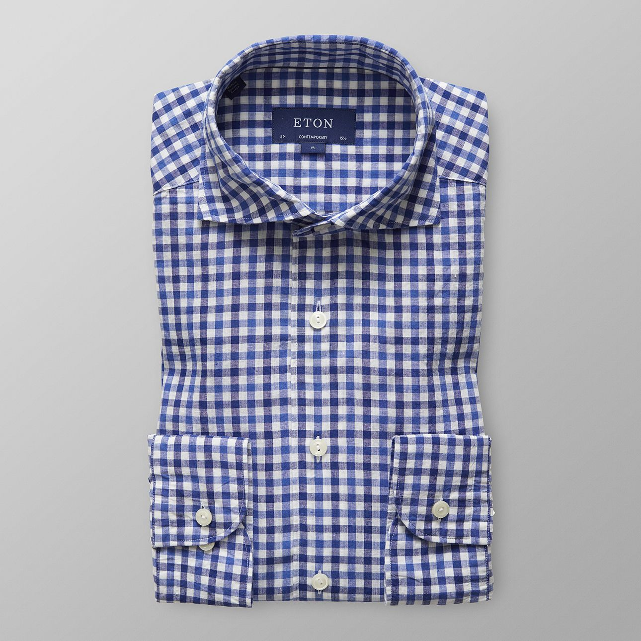 Soft Blue Cotton & Linen Gingham Check Shirt